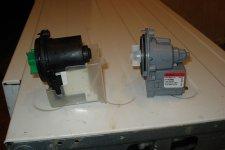 Сливные насосы для стиральной машины, новый и старый